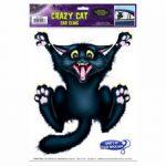 Black Crazy Cat Static Cling