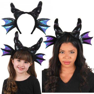 Black Fabric Dragon Horns Headband w Wings