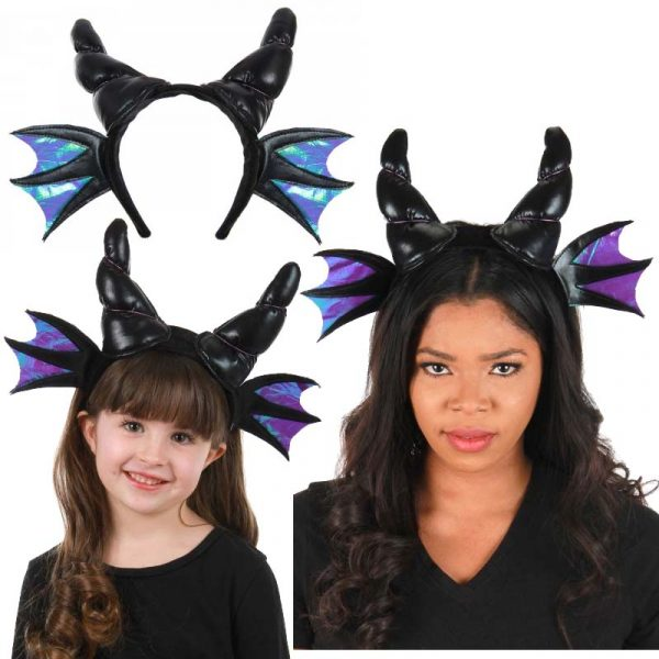Black Fabric Dragon Horns Headband w Wings