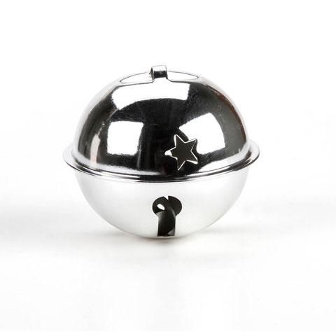 "Large Shiny Silver Metal Jingle Bell - 2.75"""