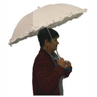White Ruffled Umbrella