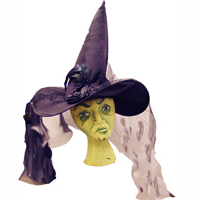 Dlx Black Satin Witch Hat with Trim and Veil