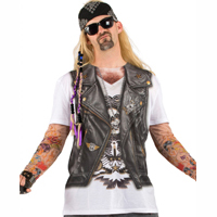 Biker Tattoos chains leather vest - Photorealistic Faux Real T-shirt