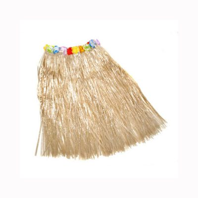 Imitation Raffia Hula Skirt with Floral Band