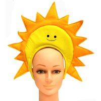 Costume Fabric Sun Headband Yellow Smiley Face Gold Sun Rays