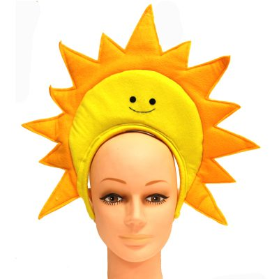 Costume Fabric Sun Headband Yellow Smiley Face Gold Sun Rays