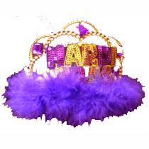 Mardi Gras Sequin Tiara w/ purple Marabou