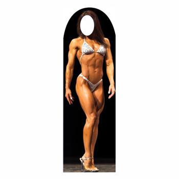 Muscle Woman Stand In Cardboard Figure
