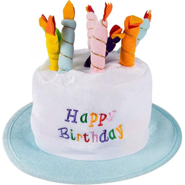 Plush Birthday Cake Hat with Candles