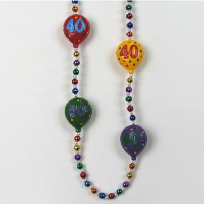 40th Birthday balloon bead necklace