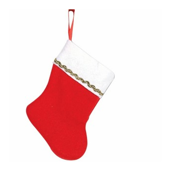 "5"" Red/White Stocking with Gold trim"