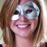 Fabric Shiny Half Mask - Silver Metallilc