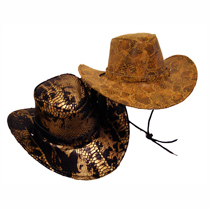Snakeskin Fabric Western Hat with Buckle