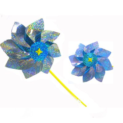 Pinwheel prismatic blue silver