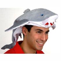 Fabric Shark Hat  Gray and White