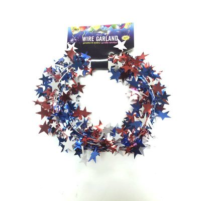 Patriotic red, white and blue star garland