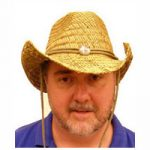 Natural Roll Brim Western Hat with Silver Concho