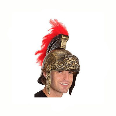 Roman Soldier Helmet w Red Feathers