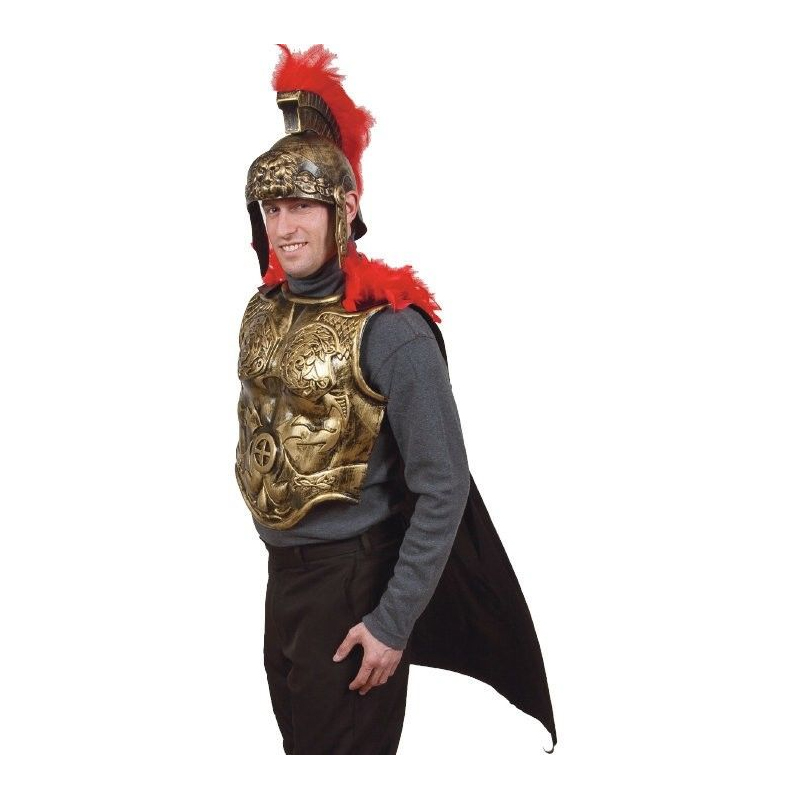 Gladiator Armor with Black Cape and Red Feathers