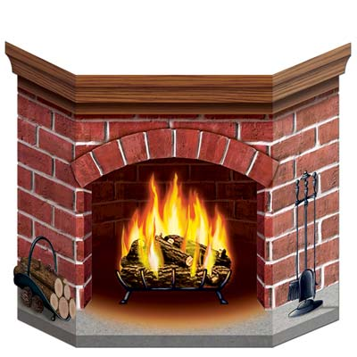 Cardboard Brick Fireplace Christmas Decoration