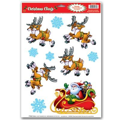Santa and Sleigh Window Clings