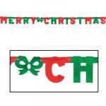 Merry Christmas Metallic Foil Cardboard Streamer