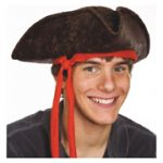 Brown Weathered Pirate Hat w/ red ties