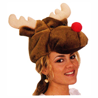 Reindeer Hat with Red Nose-Plush Fabric