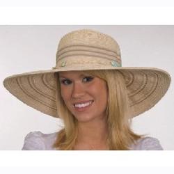 Ladies ivory wide brim hat