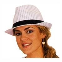 Pinstripe Fabric Fedora Hat
