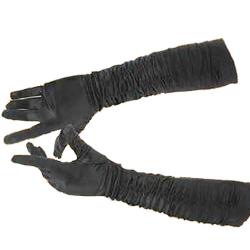 Long Black Satin Gathered Gloves