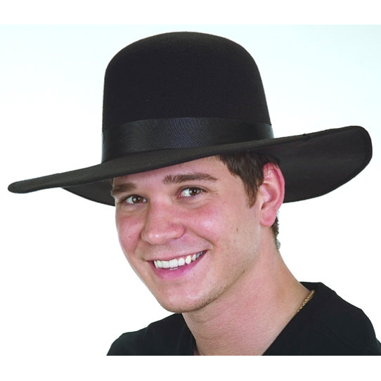 Black Felt Dome-Top Hat Wide Brim Amish Style - Cappel s a7ed21814df