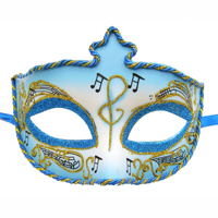 Venetian Half Mask with Musical Notes - Blue