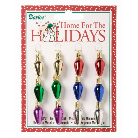 package of 12 mini christmas light ornaments