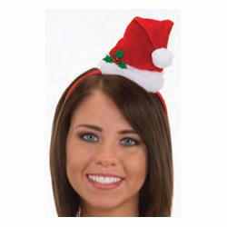 Santa hat on headband velvet plush w/ holly sprig
