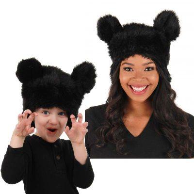 Plush Black Bear Headpiece Hat
