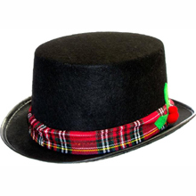 5c80879ff48 Striped Santa Hat long velvet red green Elf Hat.  5.99 Read more · Top Hat  - Black Felt w  Red Plaid band and Holly pom poms