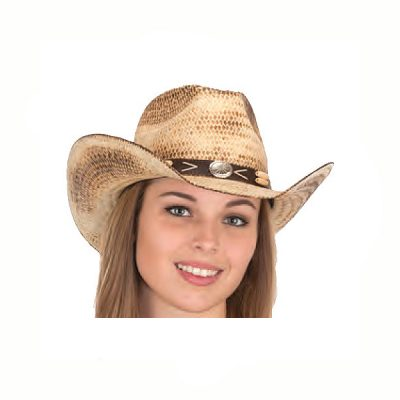 Curved Brim Natural Distressed Straw Western Hat
