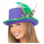 Top Hat Mardi Gras Purple hat Green Feather Gold band