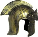 Roman Helmet Hat - Plastic Costume Brushed Gold