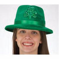 St. Patrick's Green Velvet Fedora Hat w/ Shamrock Leprechaun