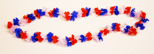 Silk Mini Blossom Lei - Red, White and Blue