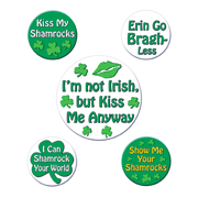 St. Pat's Party Buttons - 5 on a Card