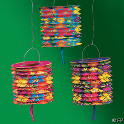 Luau Hibiscus Design Multi Color Paper Lanterns