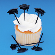 Black Grad Cap Cupcake Picks