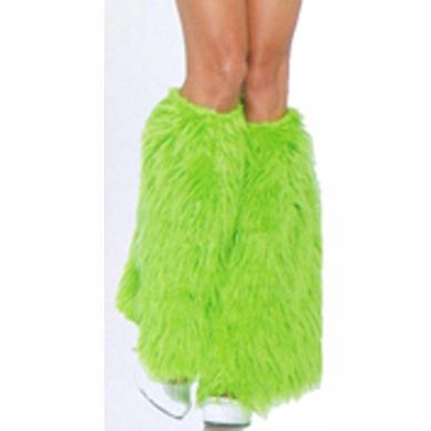 furry neon green leg warmers