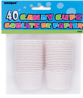 Candy Cups - White Paper - 40 Count