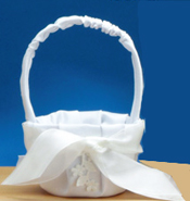 Round Fabric Bridal Flower Basket with Bow