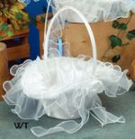"10"" Oval Tapered Satin/Organza Bridal Basket"
