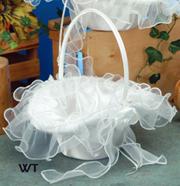 "10"" Oval Tapered Satin/Organza Bridal Basket"